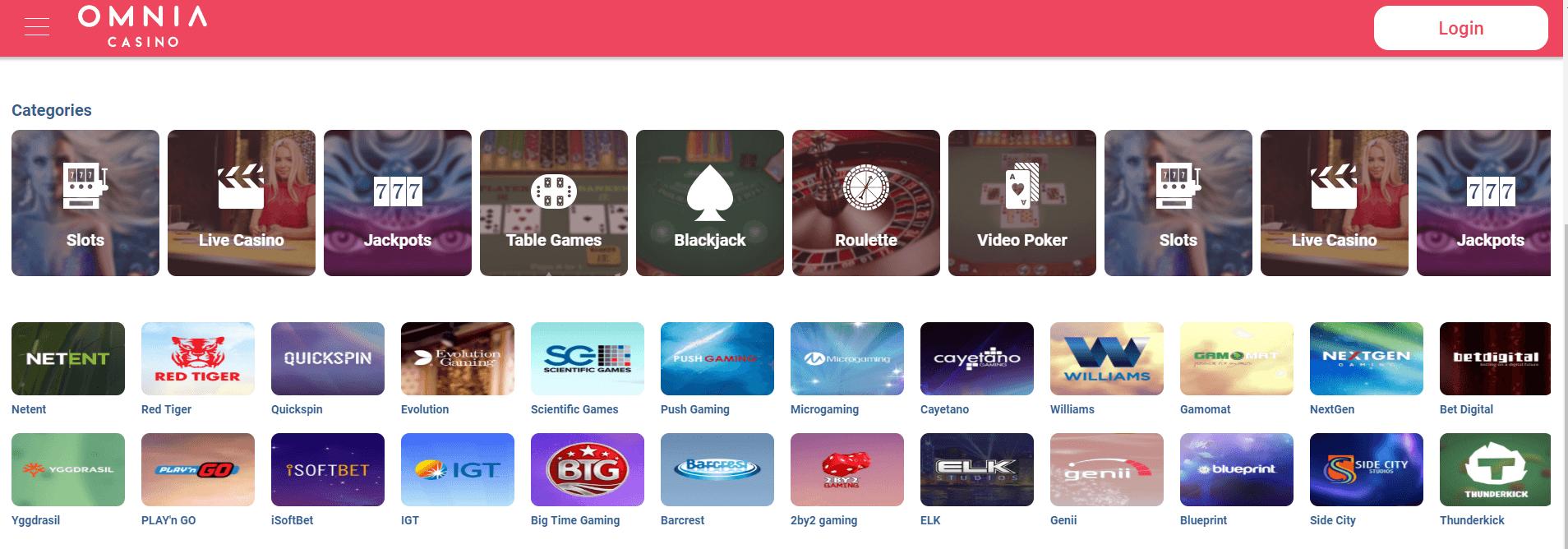 Spelaanbod Omnia casino